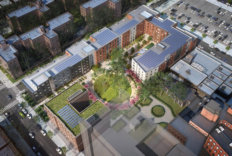 Aerial rendering of Kingsbrook Estates (Courtesy of SYNOESIS and Dattner Architects)