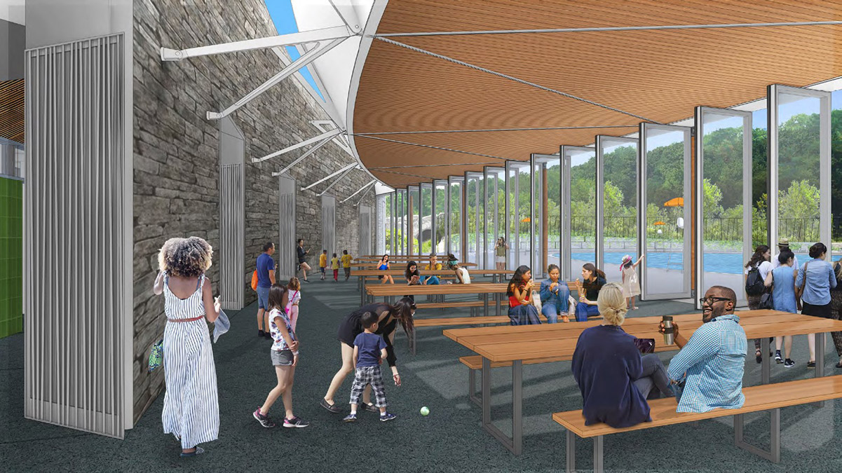 Rendering of new public space at the swimming pool deck - Susan T. Rodriguez Architecture Design