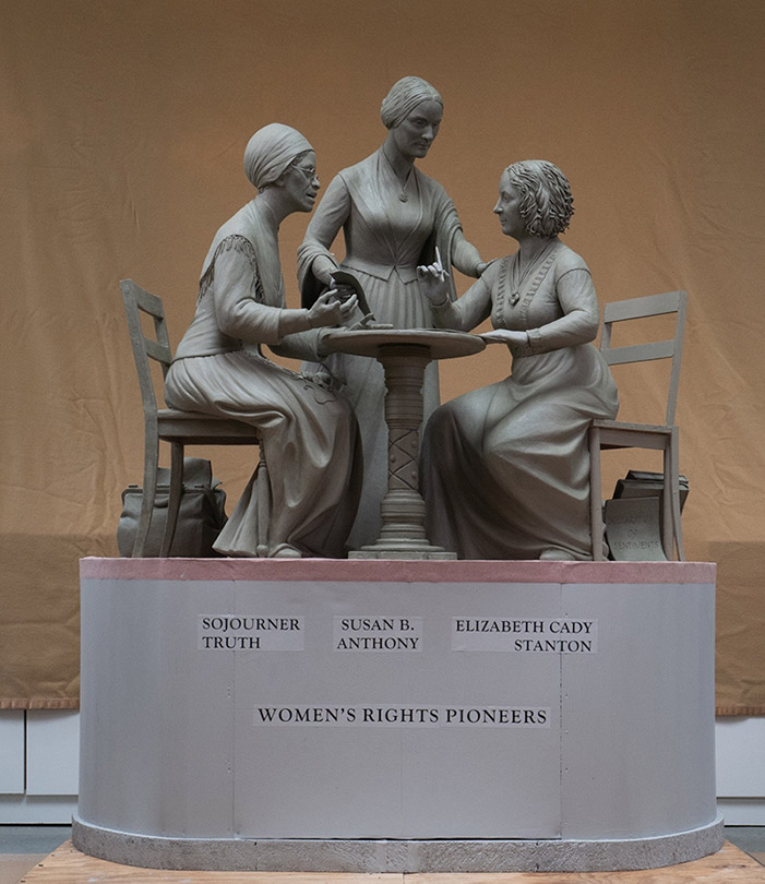 The completed Women's Rights Monument by Meredith Bergmann - Monumental Women