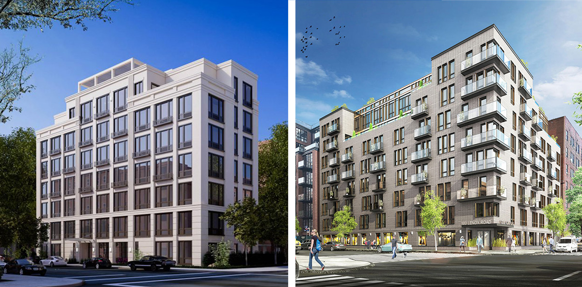 Previous renderings of 100 Lenox Street by Bienenfeld Architecture (left) and Charles Mallea Architects (right)