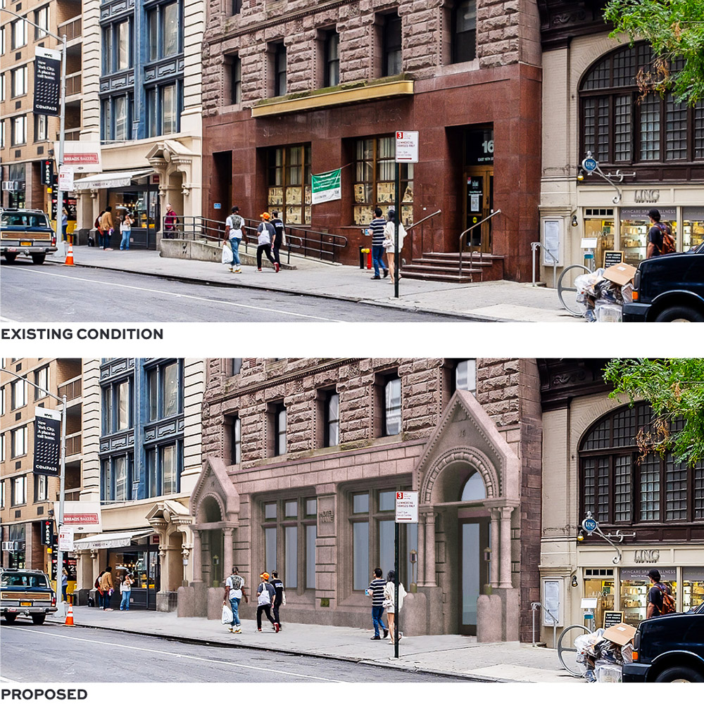 Existing conditions at 16 East 16th Street (top) and proposed facade alterations (bottom) - BKSK Architects