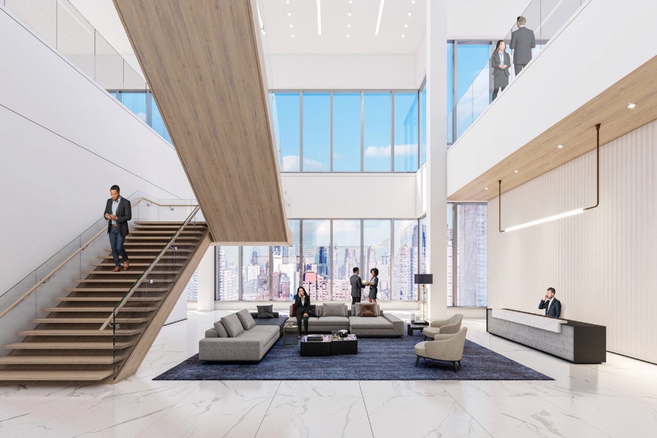 Rendering of interiors at 3 Hudson Boulevard