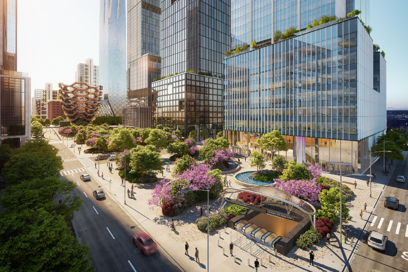 Rendering of plaza at 3 Hudson Boulevard