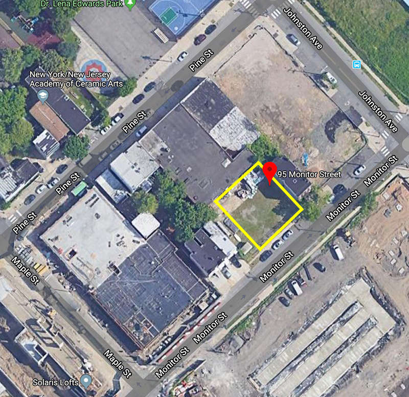Aerial view of construction site indicated in yellow (Google Maps)