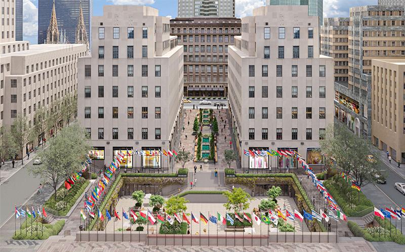Rendering of proposed renovations to Rockefeller Plaza - Tishman Speyer / Gabellini Sheppard Associates