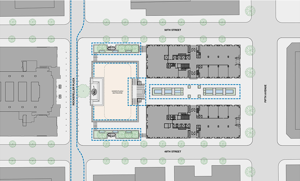 Site map of the affected areas within Rockefeller Plaza - Tishman Speyer / Gabellini Sheppard Associates