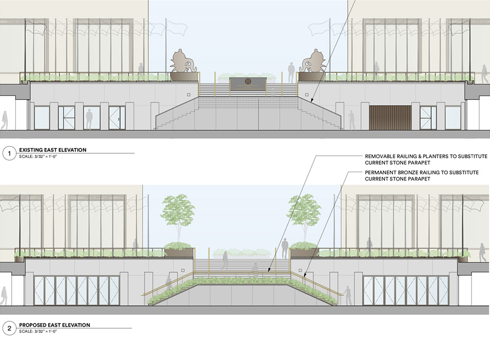Images reveal existing elevations surrounding the sunken plaza / ice skating rink (top) and the proposed alterations (bottom)- Tishman Speyer / Gabellini Sheppard Associates