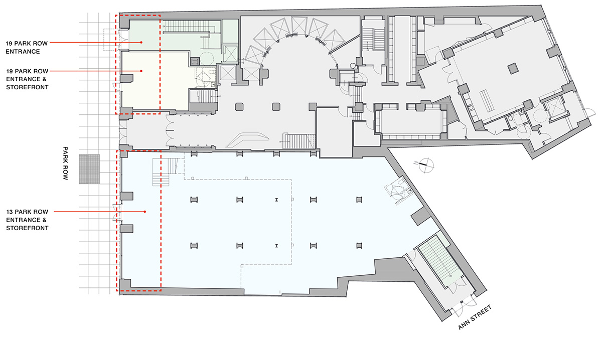 Ground floor plan of proposed retail component (Option A) - Fogarty Finger Architecture