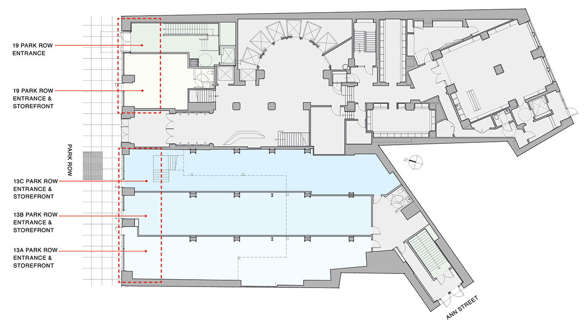 Ground floor plan of proposed retail component (Option C) - Fogarty Finger Architecture
