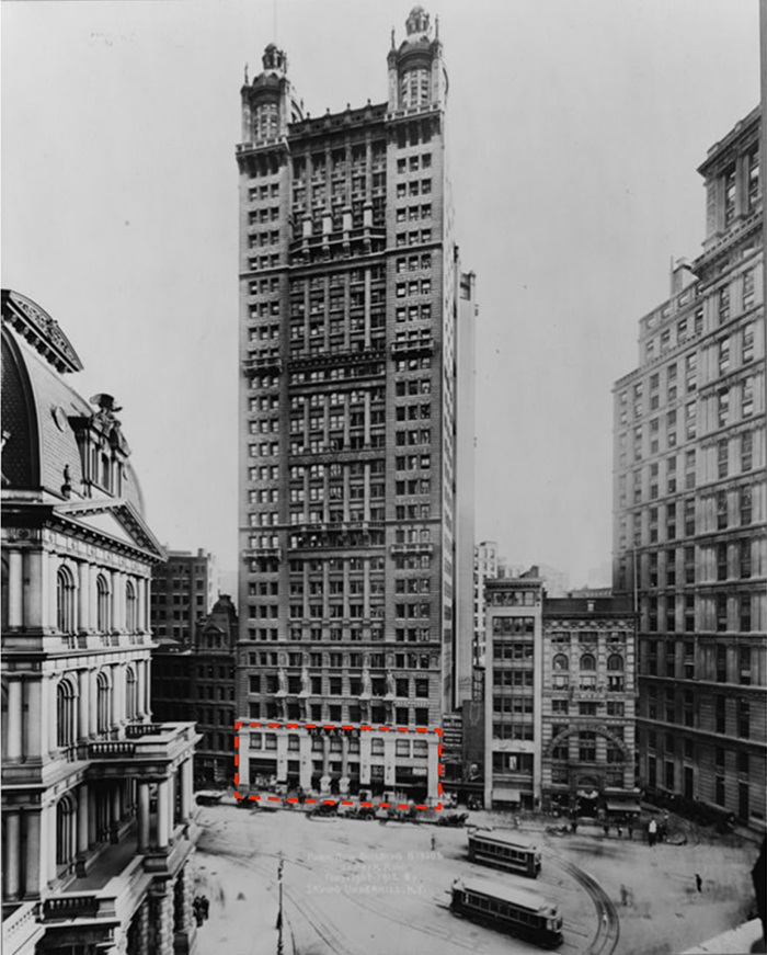 Historic photo of 15 Park Row with the proposed renovated area outlined in red - Fogarty Finger Architecture