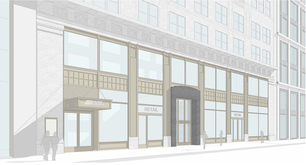 Rendering of proposed retail component (Option A) - Fogarty Finger Architecture