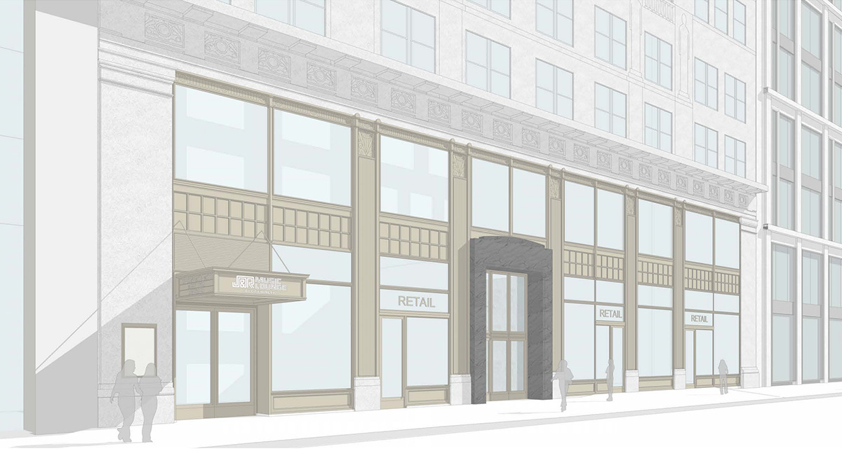Rendering of proposed retail component (Option B) - Fogarty Finger Architecture