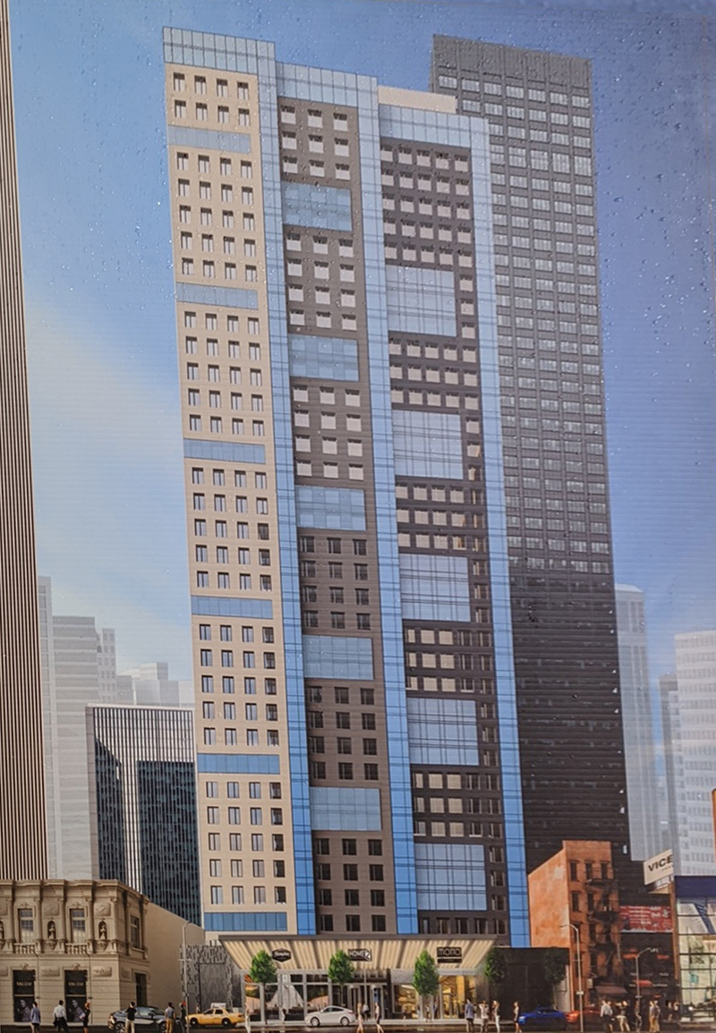 Construction poster at the build site for 150 West 48th Street - McSam Hotel Group / Gene Kaufman Architect