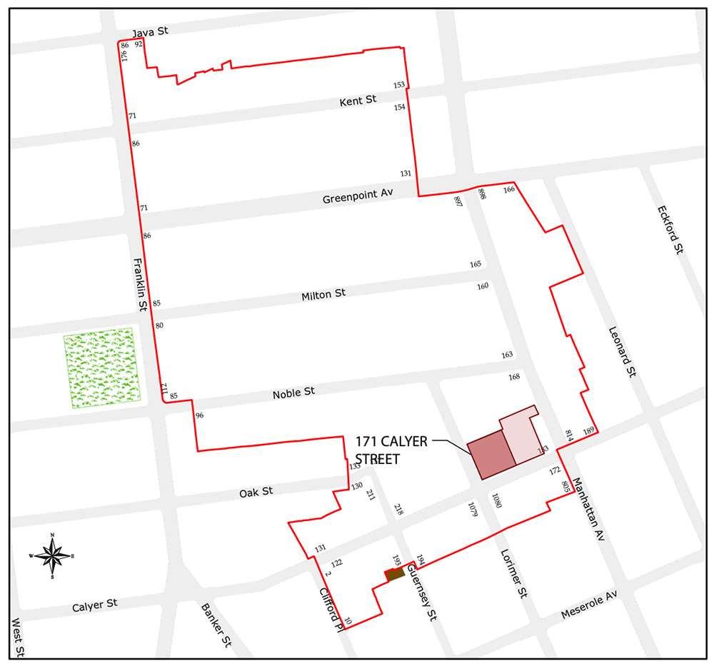Site map of proposed development at 171 Calyer Street - PKSB Architects