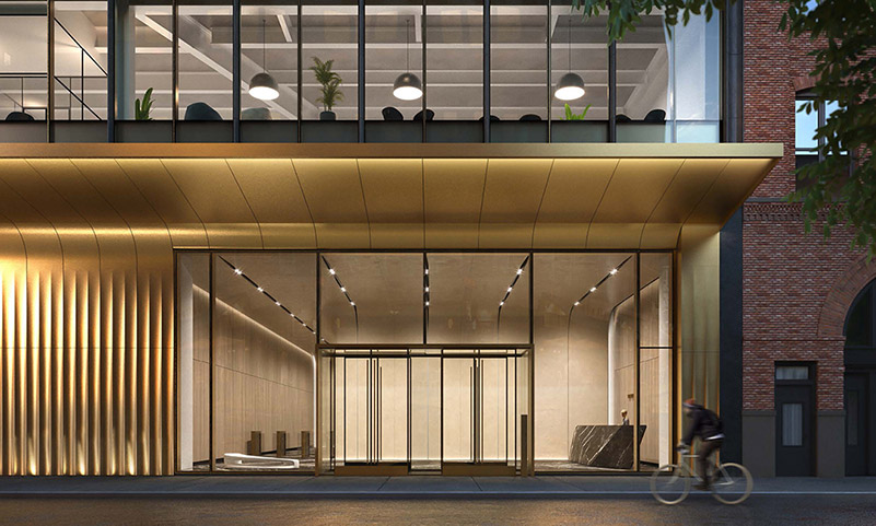 Rendering of entryway and lobby at The Hudson Arts Building - The Moinian Group / Studios Architecture