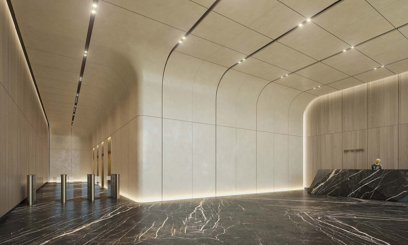Rendering of commercial lobby at The Hudson Arts Building - The Moinian Group / Studios Architecture
