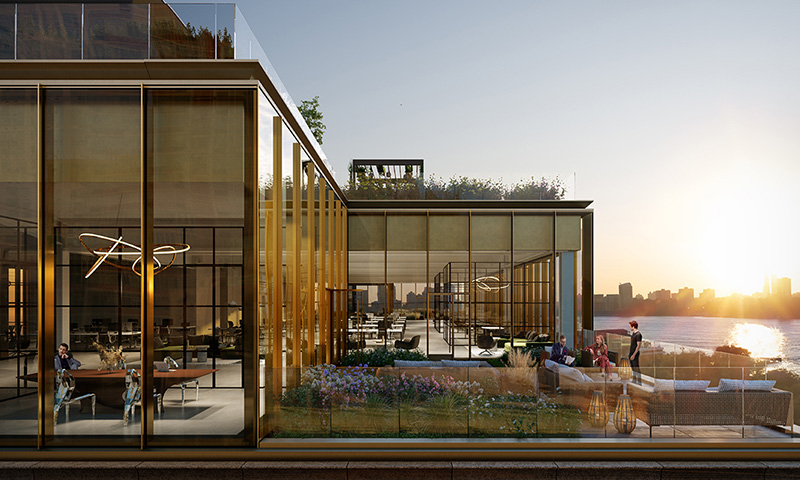 Rendering of private outdoor space at The Hudson Arts Building - The Moinian Group / Studios Architecture
