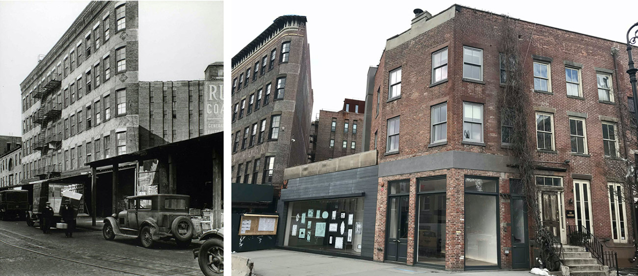 Historic photo of 3 Ninth Avenue (left) and existing conditions (right) - Atmosphere Design Group