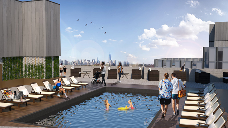 Rooftop pool at Bergen Arch Plaza - LWDMR Architects