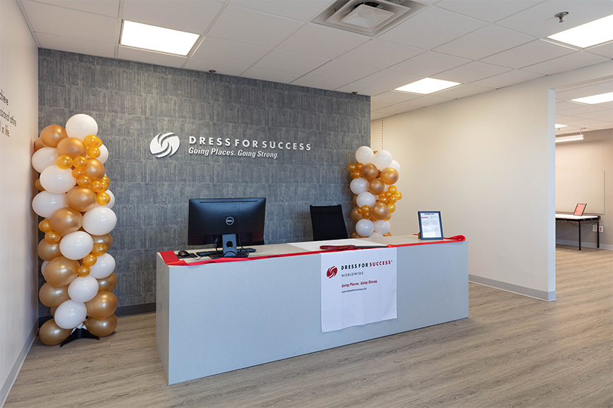 Front desk area at the Dress For Success Queens headquarters (Photo by Robert Deitchler; Courtesy of Gensler)