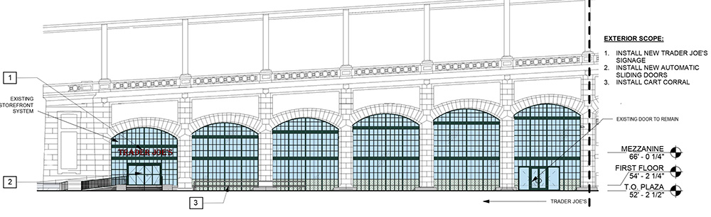 Proposed exterior elevations and facade of Trader Joe's 405 East 59th Street Location - Madd Equities
