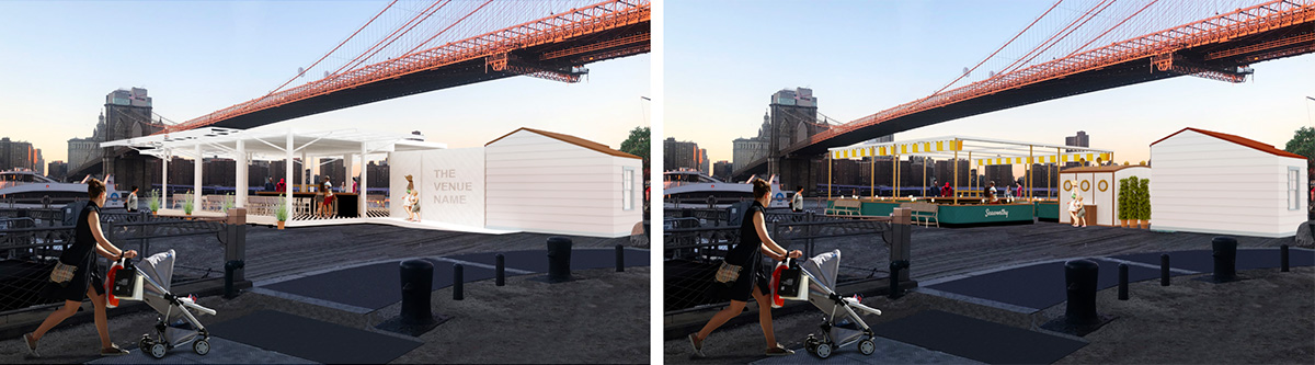 Original illustrations (left) and updated rendering (right) of the Fulton Ferry Landing Pier - Starling Architects