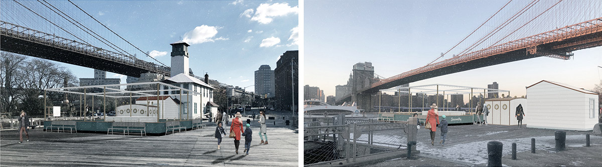 Updated rendering of the Fulton Ferry Landing Pier during off-season operation - Starling Architects