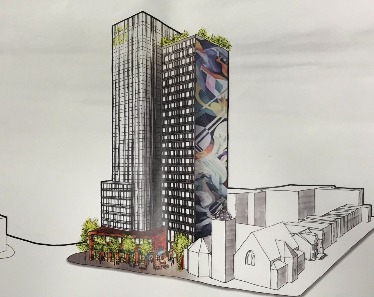 Preliminary rendering of Journal Square Urby - Ironstate Development / HLW Architects