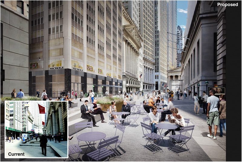 Renderings of new seating areas - WXY Architecture / Downtown Alliance