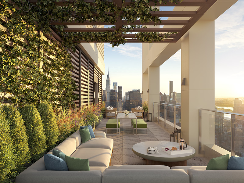Rendering of outdoor amenity terrace at VU aka 368 Third Avenue - Unmarked Studio