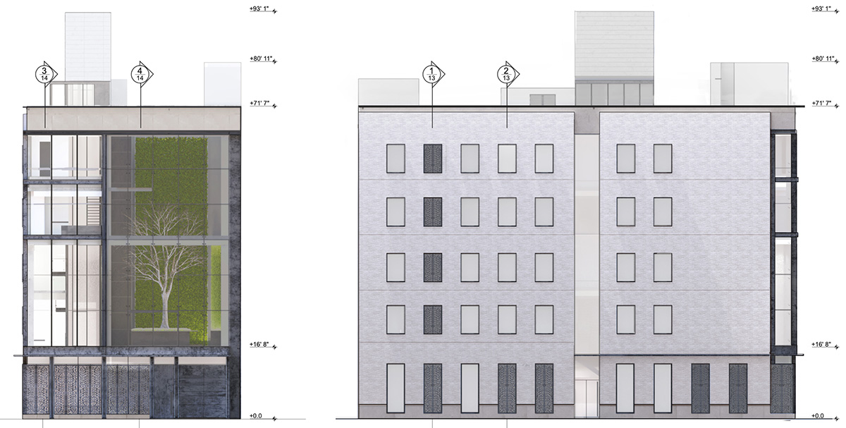 Updated elevation diagrams at 11 Hubert Street; Hubert Street (left) Collister Street (right) - E. Cobb Architects