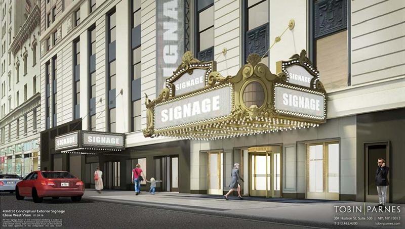 Rendering of 43rd Street marquee - Tobin Parnes Design