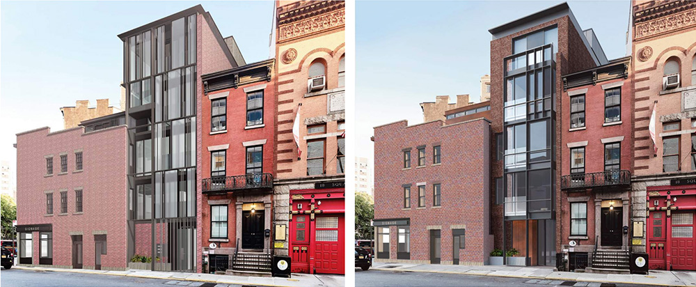 Previous rendering (left) and updated rendering (right) of 21 Greenwich Avenue - BKSK Architects