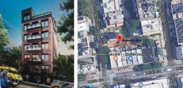 Rendering of 245 Franklin Avenue (Charles Mallea Architect) and aerial view of construction site (Google Maps)