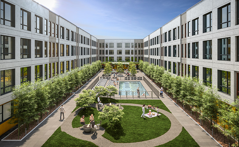 Outdoor courtyard at 295J - courtesy of Ironstate Development Company & BKSK Architects