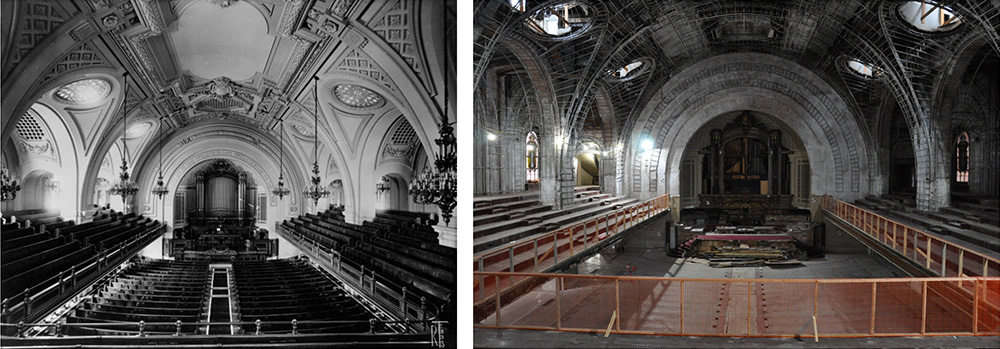 Historic photo of church interiors (left) and the current semi-demolished conditions (right) - FXCollaborative