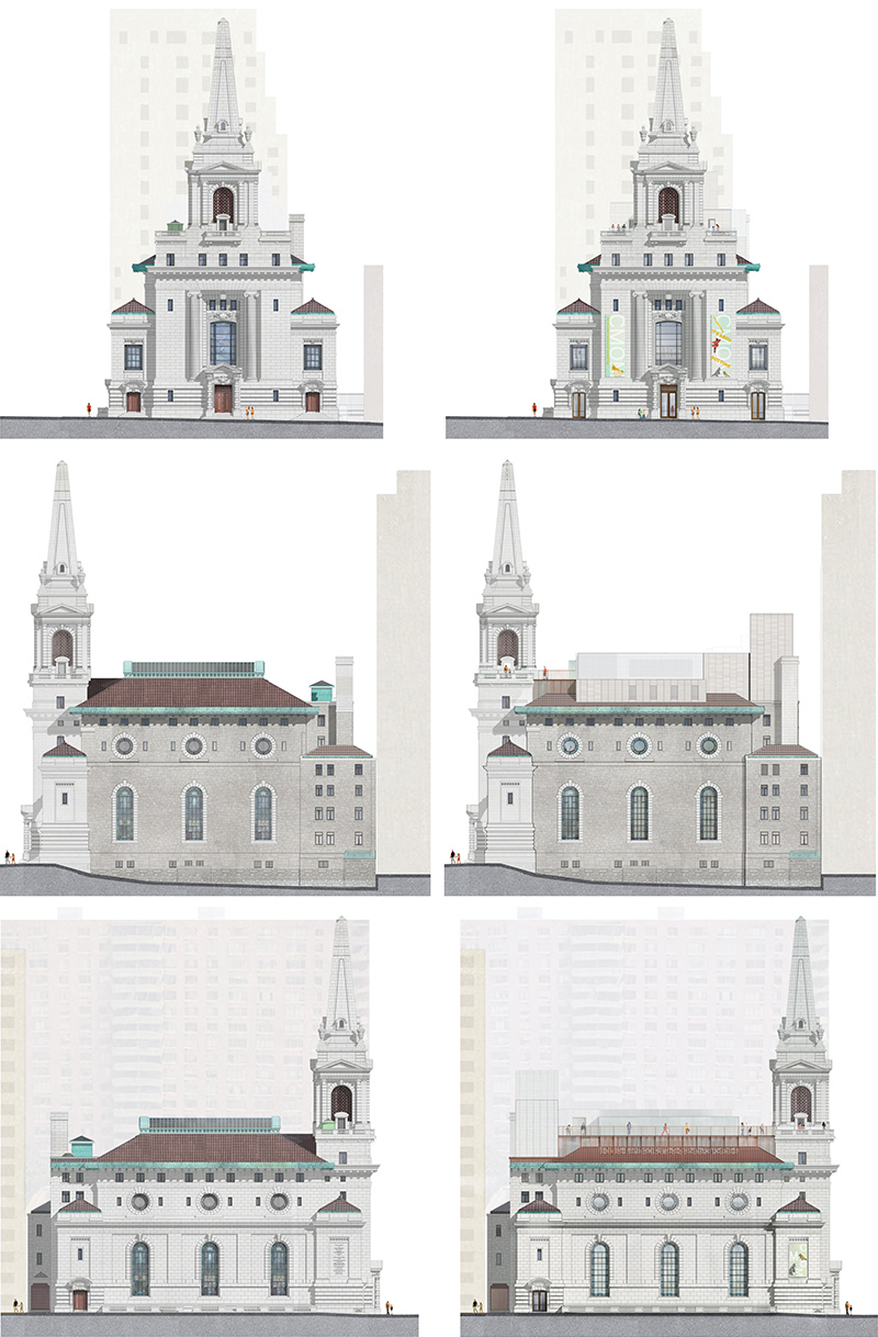 Historic (left) and renderings (right) of alterations to the historic church - FXCollaborative