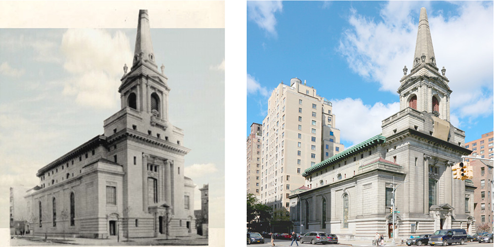 Historic photo of the First Church of Christ Scientist and existing conditions at 361 Central Park West – FXCollaborative