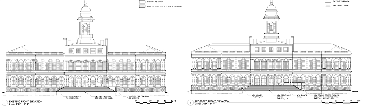 Drawings of existing condition (left) and approved renovations (right) at New York City Hall - CTA Architects