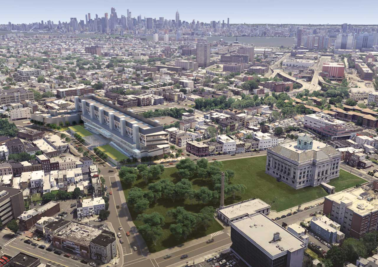 Rendering of the Frank J. Guarini Justice Complex - Hudson County Improvement Authority