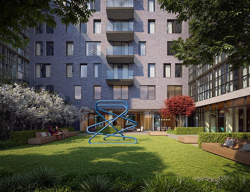 Rendering of Galerie's courtyard - Binyan Studios