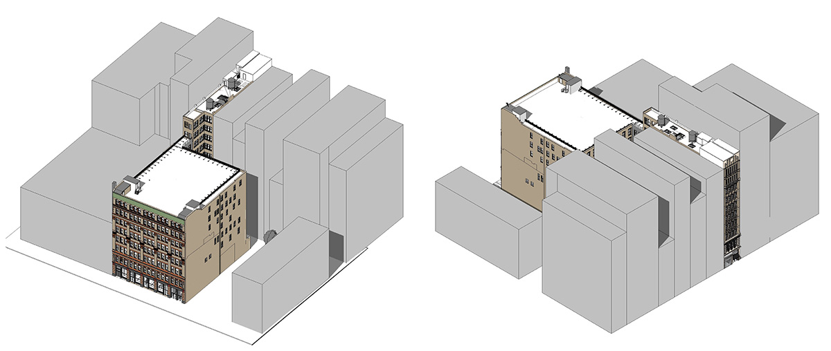 Diagram of historic buildings at 404 Lafayette Street (left) and 708 Broadway (right) - Kliment Halsband Architects