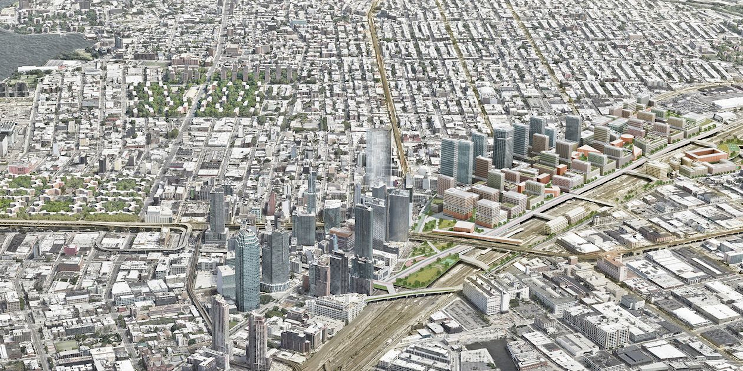 Rendering of Master Plan for Sunnyside Yard. Courtesy of Practice for Architecture and Urbanism