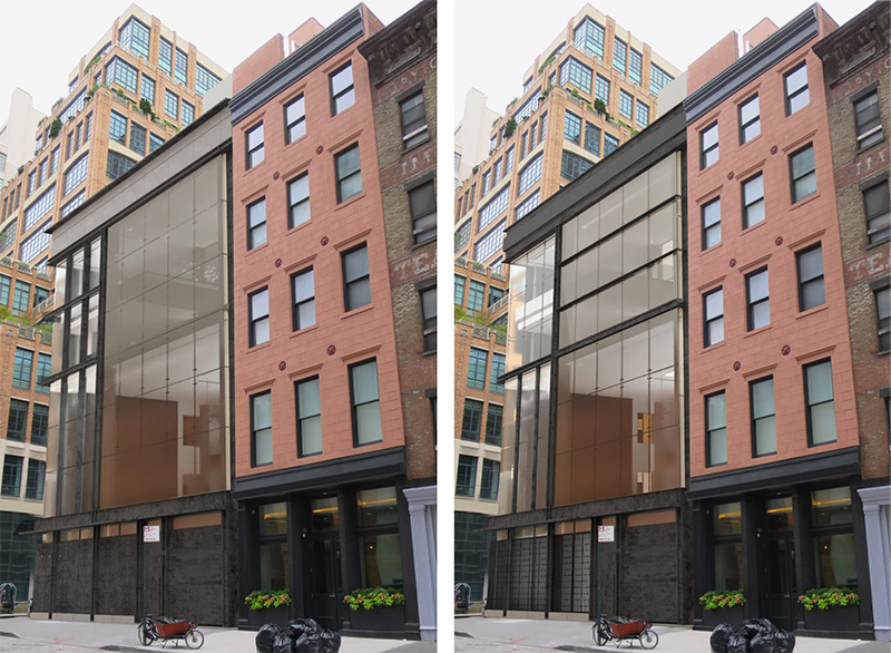 Previous facade (left) and updated rendering (right) of 11 Hubert Street - E. Cobb Architects