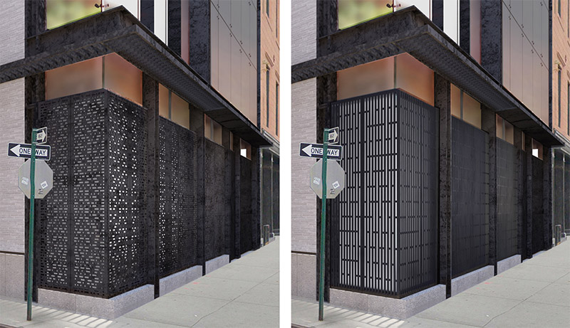 Previous perforated metal enclosure (left) and updated rendering (right) of 11 Hubert Street - E. Cobb Architects