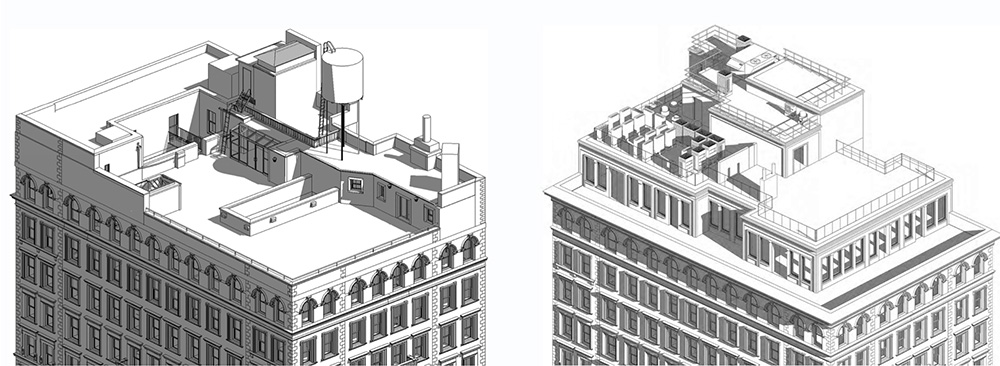 Rendering of existing (left) and proposed (right) roof alterations at 1295 Madison Avenue - Form4 Design Studio