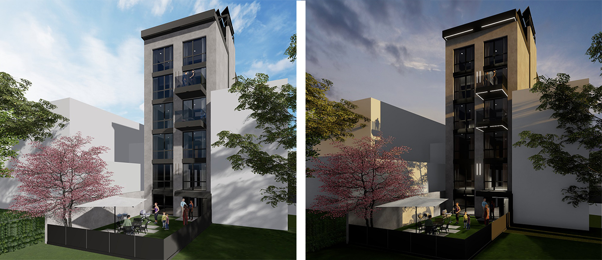 Rendering illustrates rear view of 1432 Vyse Avenue - Node Architecture, Engineering & Consulting