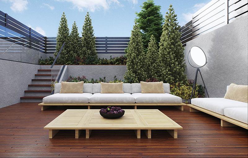 Rendering of terrace area at 205 Freeman Street - INOA