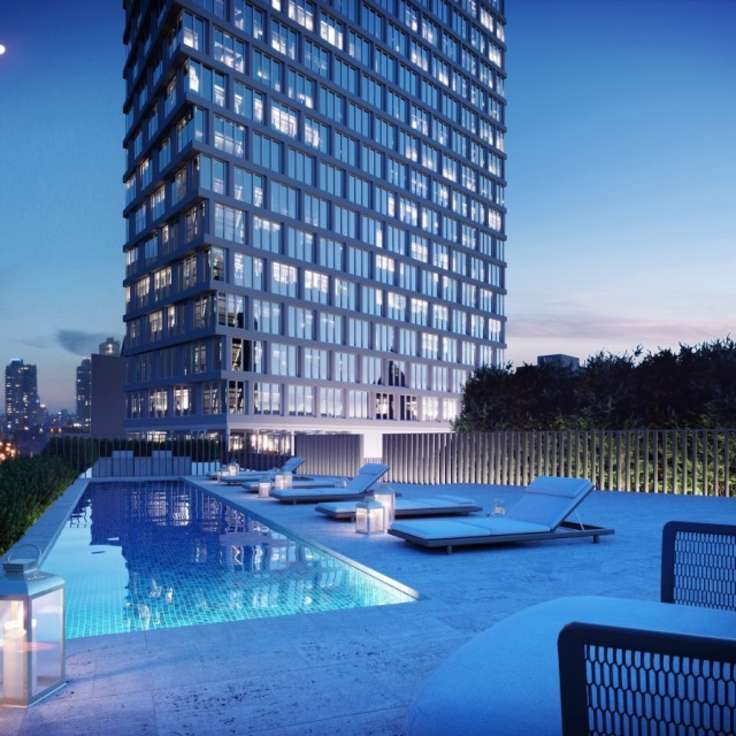 Rooftop pool at 550 Clinton Avenue - Morris Adjmi Architects