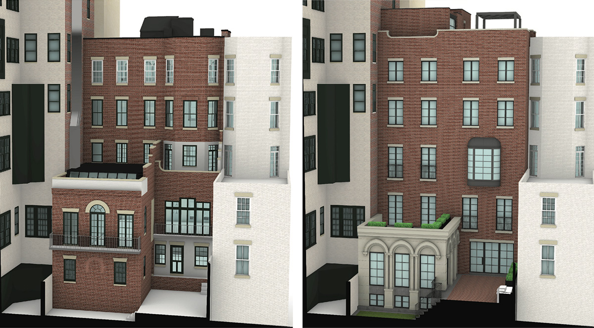Rendering of existing (left) and proposed rear elevation at 34 East 70th Street - J.L. Ramirez Architect